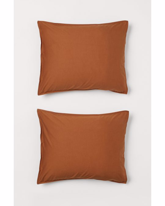 H&M HOME 2-pack Cotton Pillowcases Brown