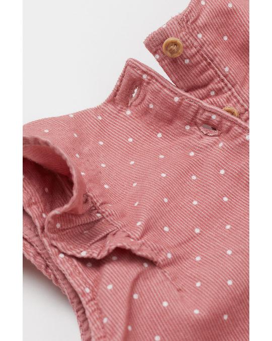 H&M Kleid mit Volants Altrosa/Gepunktet