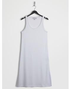 Side Slit Scoop Neck Jersey Dresses White