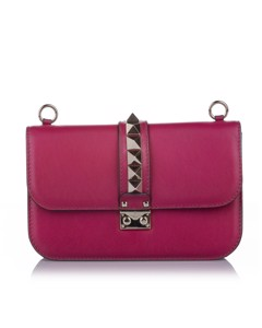Valentino Rockstud Glam Lock Leather Crossbody Bag Pink