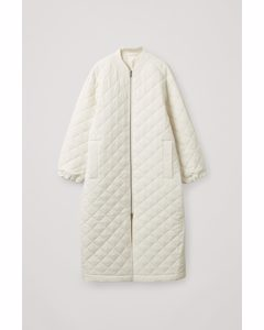 Longline Quilted Coat White