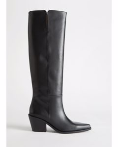 Western Knee High Leather Boots Black