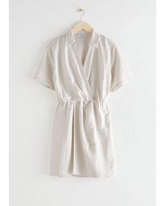 Twisted Waist Twill Mini Dress White
