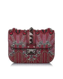 Valentino Rockstud Glam Lock Leather Crossbody Bag Red