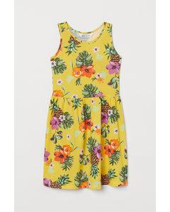 Gemustertes Jerseykleid Hellgelb/Tropische Blüten