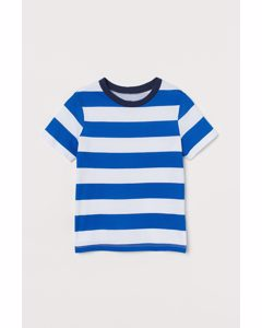 T-shirt I Bomull Klarblå/randig