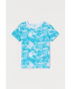 T-Shirt aus Baumwolle Türkis/Batikmuster