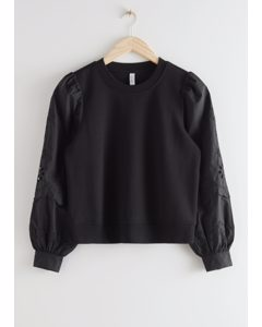 Embroidered Sleeve Sweater Black