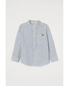 Henley-overhemd Van Linnenmix Wit/blauw Gestreept