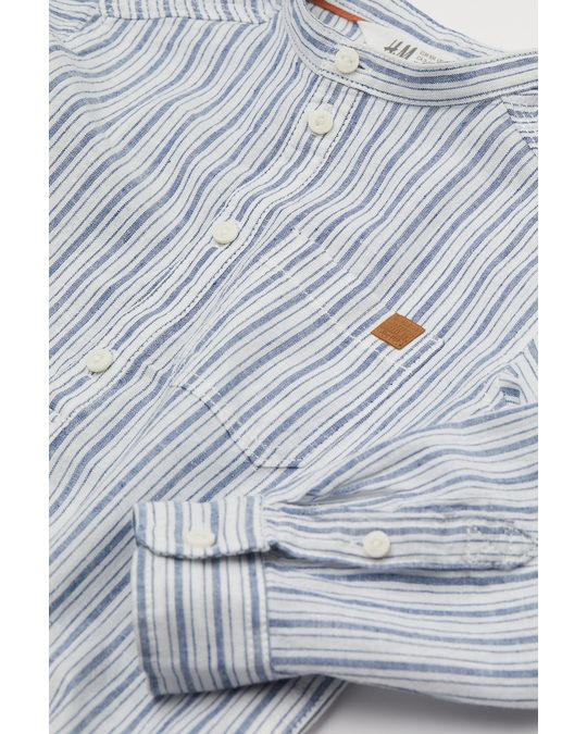 H&M Henley-overhemd Van Linnenmix Wit/blauw Gestreept