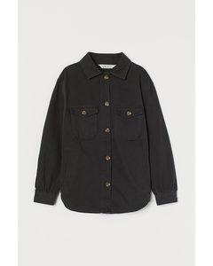 Blusenjacke aus Twill Schwarz