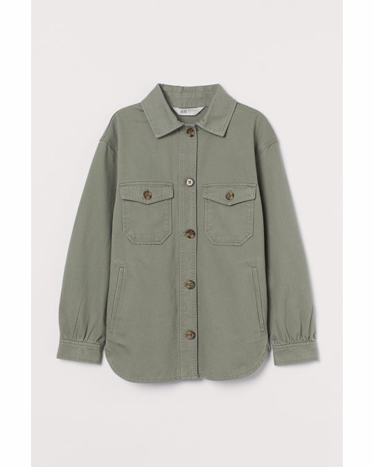 H&M Twill Shirt Jacket Khaki Green