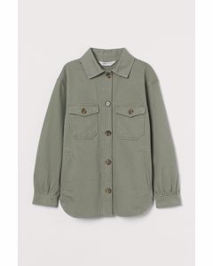 Blusenjacke aus Twill Khakigrün