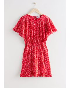 Batwing Sleeve Ruffle Mini Dress Red Print