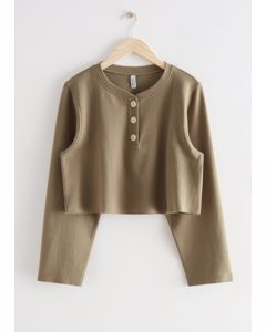 Buttoned Boxy Cotton Top Mole