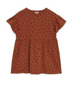 Gefranstes Jersey-Kleid Terracotta/dunkelblau getupft