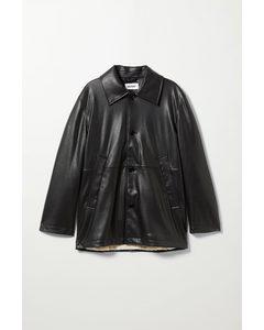 Nelson Faux Leather Coat Black