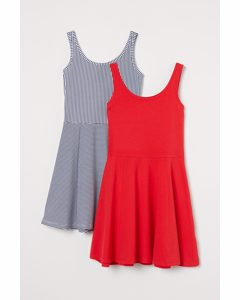 2-pack Trikåklänning Röd/randig