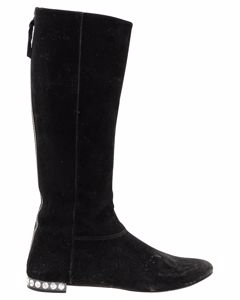 Pearl Studded Suede Boots