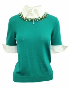 Green Wool Sweater Wit White Collar And Embellishments