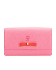 Mcm Leather Long Wallet Pink