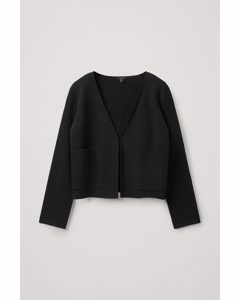 Merino Wool Mix Clean Cut V-neck Cardigan Black