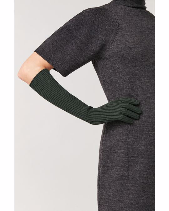 COS LONG RIBBED WOOL GLOVES Forest Green