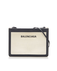 Balenciaga Navy Pochette S Leather Crossbody Bag Black
