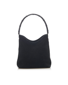 Gucci Bamboo Suede Shoulder Bag Black