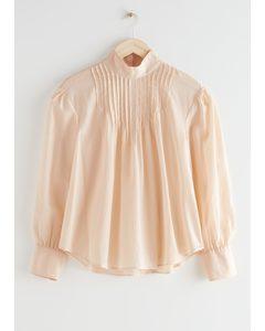 Relaxed High Collar Silk Blend Blouse Peach