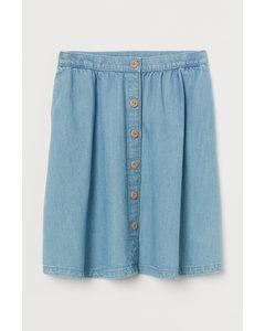 Lyocell-blend Denim Skirt Light Denim Blue