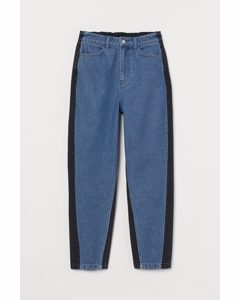 Loose-fit High Jeans Denimblå/svart