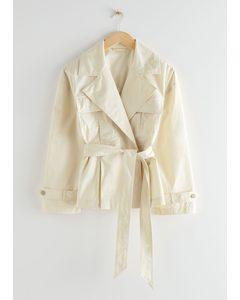 Belted Short Trench Jacket Beige