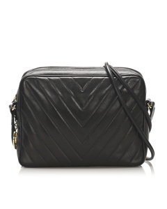 Chanel Chevron Shoulder Bag Black