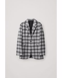 Recycled Wool Straight-fit Checked Blazer Dusty Black / White