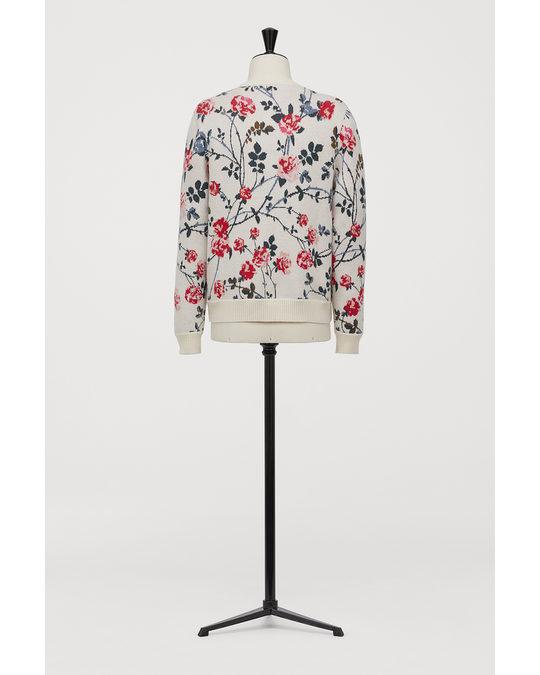 H&M Jacquardpullover Cremefarben/Geblümt