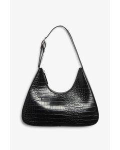 Faux Leather Bag Black Croc