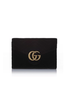 Gucci Gg Marmont Matelasse Velvet Crossbody Bag Black