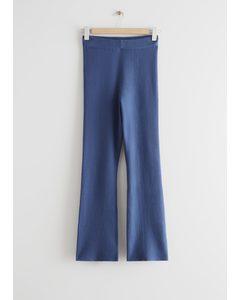 Flared Rib Knit Trousers Blue