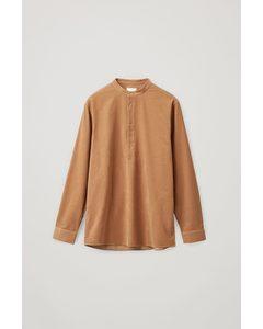 Cotton Corduroy Tunic-style Shirt Beige