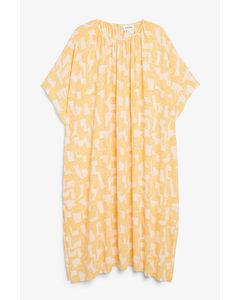 Oversized Trapeze Dress Yellow And White Pattern