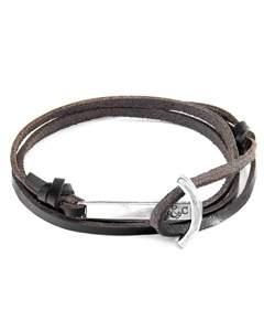 Anchor & Crew Dark Brown Clipper Anchor Silver And Flat Leather Bracelet