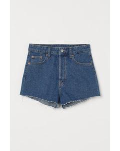 Slim High Denim Shorts Blau