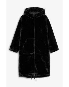Long Faux Fur Coat Black Magic