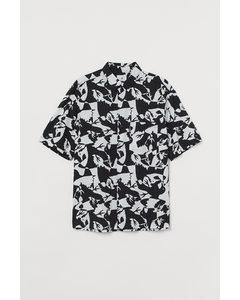 Overhemd - Relaxed Fit Zwart/wit Dessin