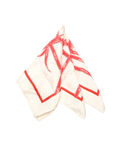 Hermes Ribbon Silk Pocket Square Red