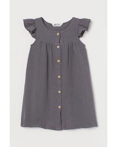 Kleid mit Volantärmeln Dunkelgrau