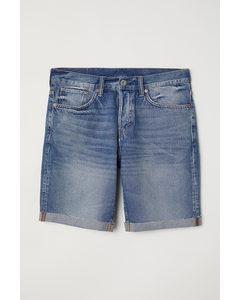 Jeansshorts Straight Blau/Gewaschen