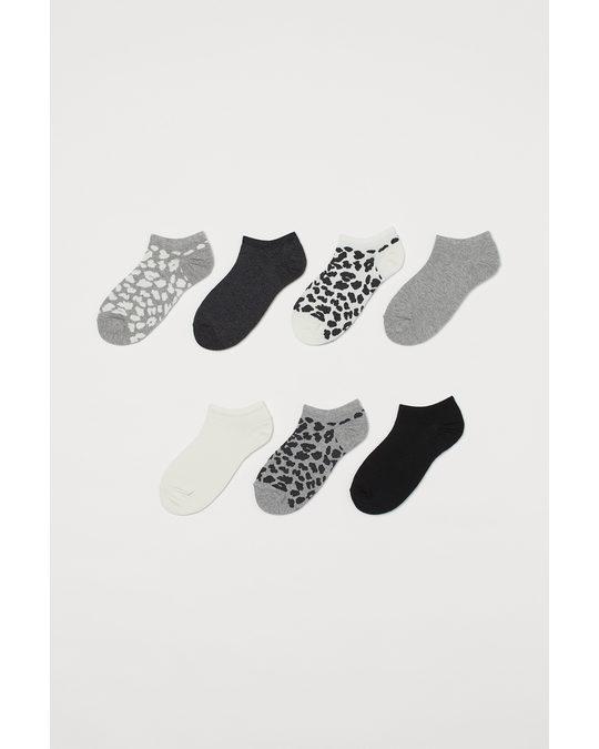 H&M 7-pack Ankelstrumpor Gråmelerad/leopardmönstrad