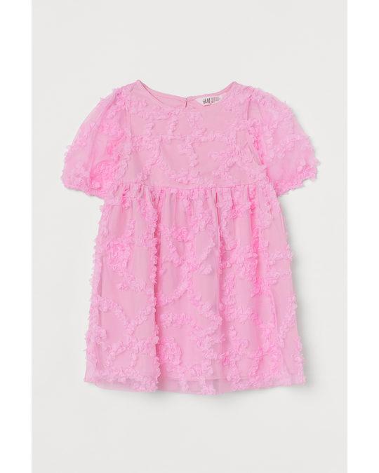 H&M Puff-sleeved Tulle Dress Bubblegum Pink